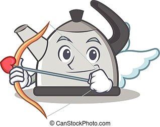 Cupid kettle character cartoon style vector illustration
