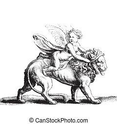 cupid, ligado, um, leão