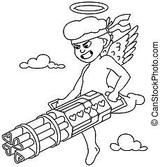 Cupid Line Art - Line art illustration of Cupid shooting ...