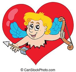 Cupid lurking from heart - vector illustration.
