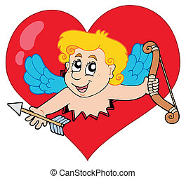 Cupid lurking from heart - vector illustration.