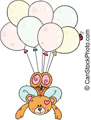Cupid of teddy bear flying with balloons