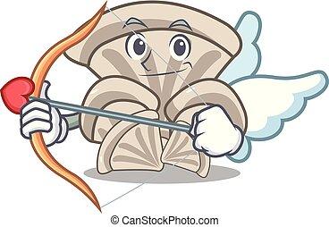 Cupid oyster mushroom character cartoon