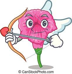 Cupid petunia flowers on cartoon home page vector illustration