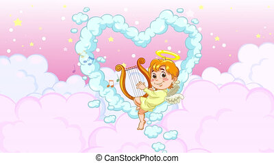 Looped cartoon animation of a baby angel sitting on heart shaped cloud and playing love song music on harp. Good for Valentine's Day card or romance video.