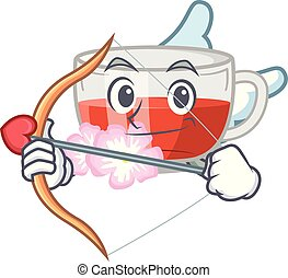 Cupid rosehip tea above wooden mascot table vector ...