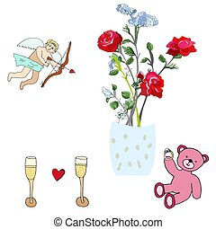 Cupid, roses, pink teddy bear and champagne.