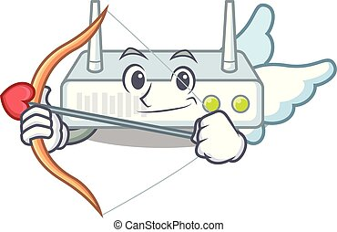 Cupid router in the a character shape vector illustration