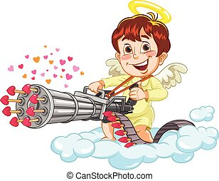 Cupid Shooting - A vector illustration of a cartoon little...