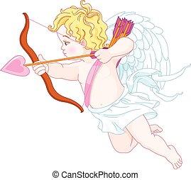 Cupid Shooting - Illustration of cute angel shooting