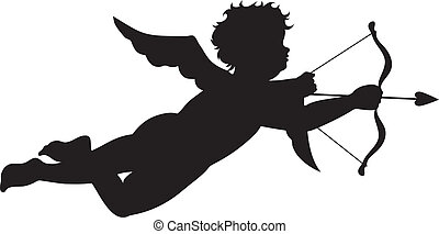 Cupid silhouette isolated on white background