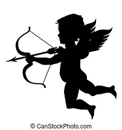 cupid silhouette isolated on white - vector cupid black...