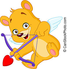 Cupid teddy bear ready to shoot his arrow