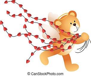 Cupid teddy bear running with heart