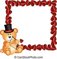 Cupid teddy bear with heart frame