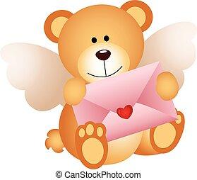 Cupid teddy bear with love envelope