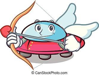 Cupid ufo character cartoon style