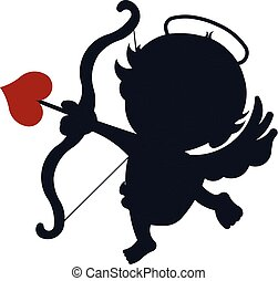 Cupid valentine angel silhouette. Vector