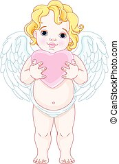 Cupid  - Illustration of cute angel holds heart
