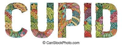 Cupid. Vector decorative zentangle object