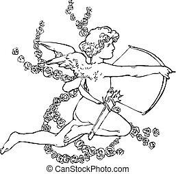 Illustration cartoon cupid retro vintage pop. Illustration of a Valentine's Day cupid ready to shoot his arrow