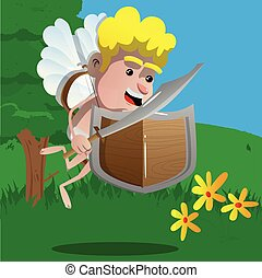 Cupid with a sword and shield. Vector cartoon character...