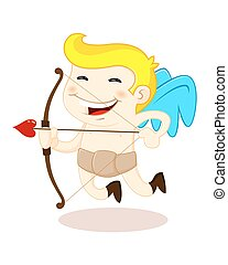 A vector illustration of a smiling cupid with arrow and bow