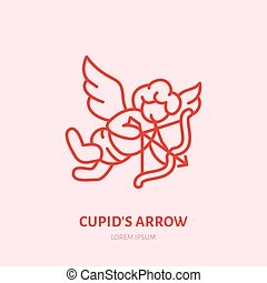 Cupid with bow and arrow flat line icon. Valentines day celebration sign