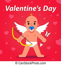 cupid with bow and arrow is watching. cute angel with wings.