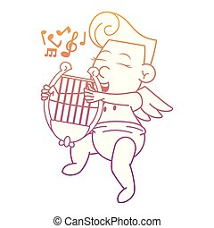 Cupid with harp cartoon rainbow lines