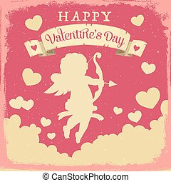 Cupid with hearts and love arrows. Valentines Day
