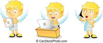 Cupid with laptop vector