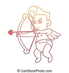Cupid with love arch rainbow lines