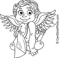Cupid with love letter outline - Cupid with love letter...