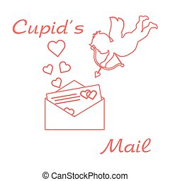 Cupid with Valentine's card and hearts. Love