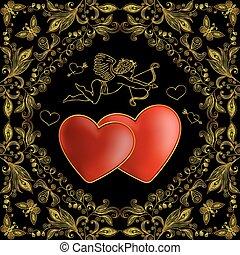cupido, con, corazones, y, floral, garabato, plano de fondo