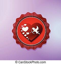 cupido, forma cuore, icona, isolato, su, viola, fondo, giorno valentines, concetto