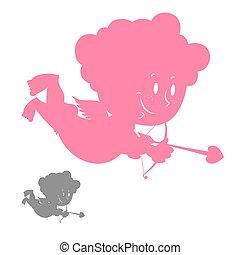 cupido, silhouette., rosa, ángel, con, un, smile., hilarante, lindo, cupid., carácter, para, valentino, day.