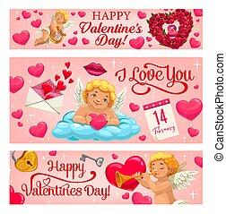 cupidon, fleurs, cœurs, ange, valentin, jour