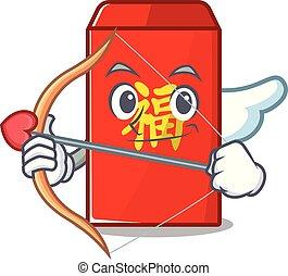 cupidon, isolé, enveloppe, dessin animé, rouges