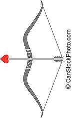 cupid's, arco y flecha, con, un, corazón