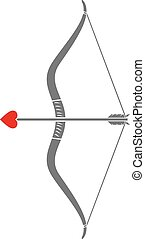 cupid's bow and arrow with a heart
