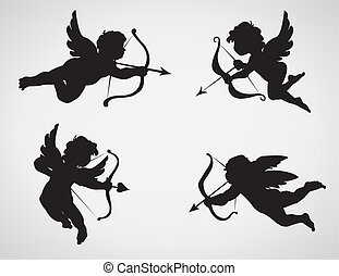 cupids - collection of 4 cupid silhouettes