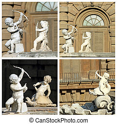 cupids images - details from fountain in Florence, Boboli...