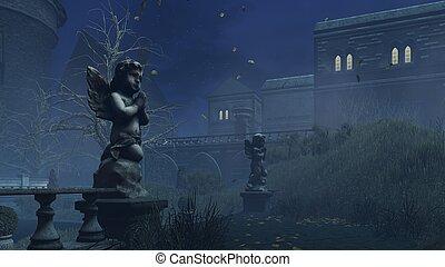 Cupid's sculpture at misty autumn night