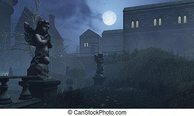 Cupid's sculpture in deserted park under full moon