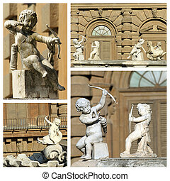 cupids sculptures - details from fountain in Boboli Gardens, Une