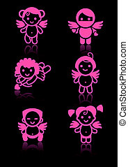 Cupids set, pink icons