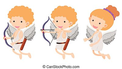 Cupids with bow and arrow