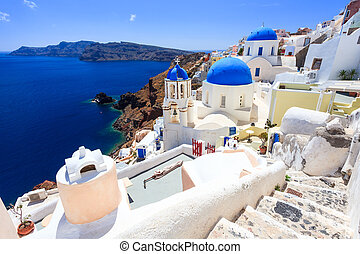 cupola blu, chiese, oia, santorini